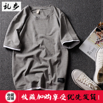 Popular brand Summer Cotton Short sleeved t-shirt (DT521 fake two-piece short T gray)