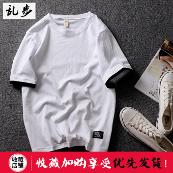 Popular brand Summer Cotton Short sleeved t-shirt (DT521 fake two-piece short T white)