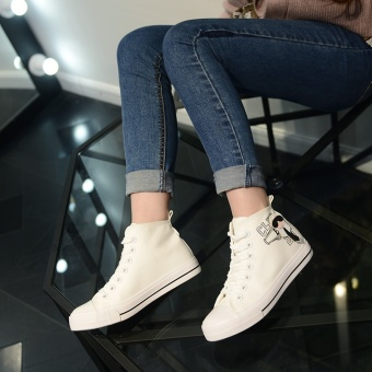 Popular High Sneakers Women Skateboarding Shoes Canvas Sneakers forWomen Fashion Sports Shoes Walking Outdoor Shoes Ready Stock (White ) - intl