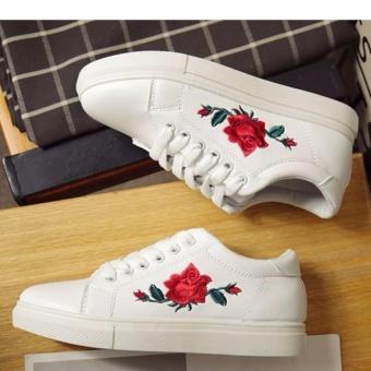 Popular Korean Fashion Flower Style Sneakers for Women - White - 4