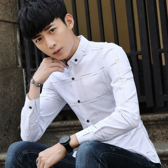 Popular men long-sleeved Teenager shirt Korean-style shirt (White)