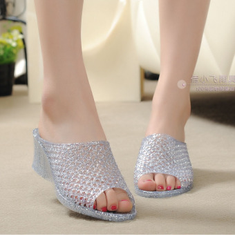 Porous high Crystal Gel shoes summer women's slippers (Flash silver-drag)