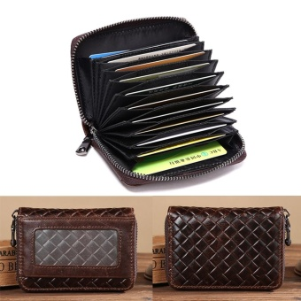 Portable Organ Card Bag Knitted Cowhide Card Holders Wax Oil Skin Zipper Card Package Men Wallet Business Purse Coin Bags Burses Decent Strap Wallet - intl