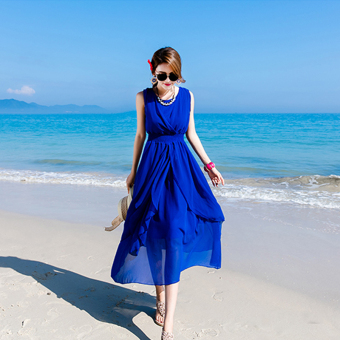 Posey Mia chiffon summer travel dress child put on a large skirt (Sapphire blue color)