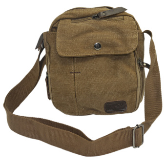Practical Multiple Pockets Cross Body Bag Canvas Messenger Bag MenBrown Price Philippines
