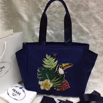 Prada Leaves and Bird Fabric Tote Bag in Navy Price Philippines