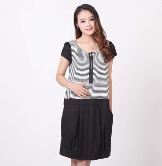 Pregnant women's mid-length New style dress summer Top (Black)