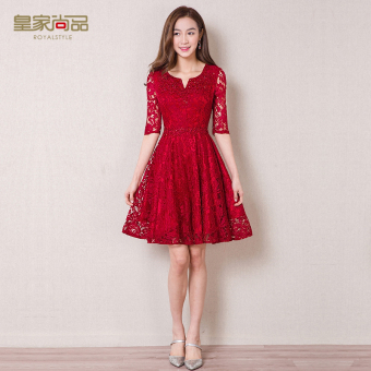 Princess half-sleeve shirt lace party small dress night dress (Wine red color)