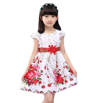 Princess Party Dresses For Girls Wedding Dresses Floral Print Kids Prom Dresses Summer Children Sundress 2 3 4 6 8 9 10 12 Years - intl