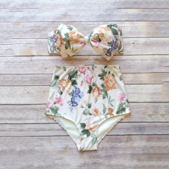 Printed Waist Split Steel Prop Gather Bikini Swimsuit Female Swimsuit