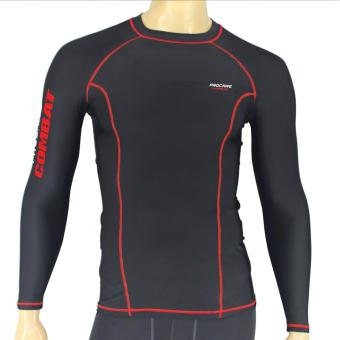 PROCARE COMBAT #8217R Dri-Quik Men Compression Long Sleeves forJogging Running Basketball (Black/Red Flatlock Seam) - 2