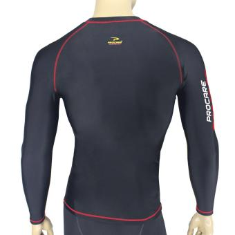 PROCARE COMBAT #8217R Dri-Quik Men Compression Long Sleeves forJogging Running Basketball (Black/Red Flatlock Seam) - 3