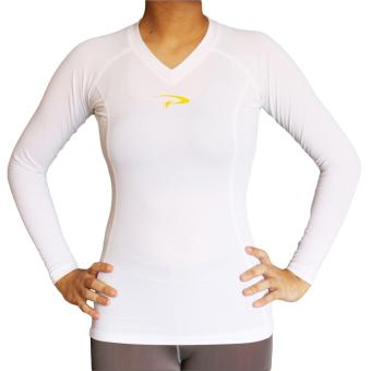 PROCARE COMBAT #9204 Dri-Quik Ladies Compression Long Sleeves for Yoga Zumba Jogging Running (White)