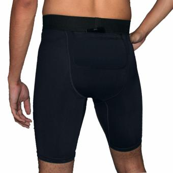 PROCARE COMBAT #CS153 Men Compression Shorts with Back Pocket Velcro Lock (Black/Gray Flatlock Seam) for Jogging Running Basketball - 2