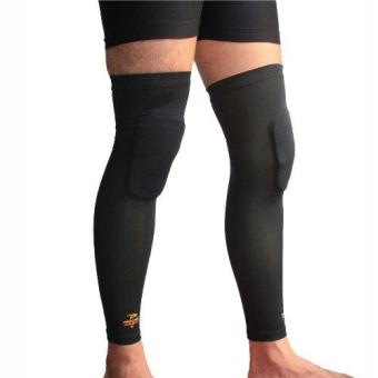 PROCARE COMBAT #CS33 Compression Knee Padded Leg Sleeves with TopAnti-Slip Unisex Pair (Black)
