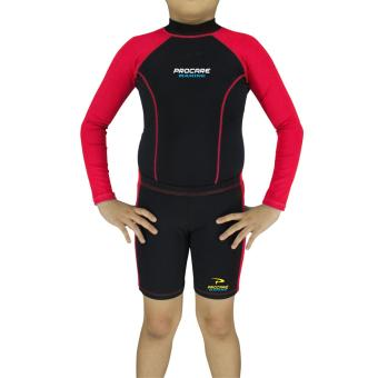 PROCARE MARINE #7307UR Dri-Quik Kids Unisex Rash Guard and Short Set, Ultra Violet Skin Protection UPF30+ for Swimming Diving Snorkeling (Black/Red)