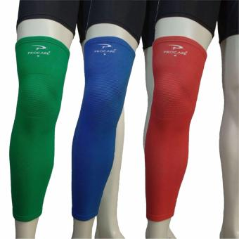 PROCARE PROTECT #6022GBR Leg Sleeves 17-inch, Thigh Knee ShinSupport Sleeve, Elastic 4-way Spandex Seamless Set of 3pcs (Green,Blue & Red)