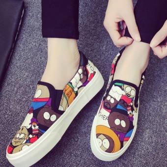 Pudding Korea Korean fashion Graffiti leisure female canvas platform shoes Green - Intl (Intl) - 3