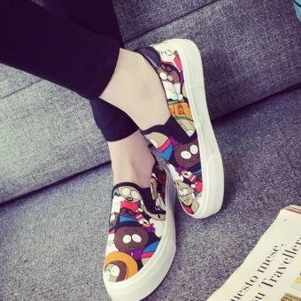 Pudding Korea Korean fashion Graffiti leisure female canvas platform shoes Green - Intl (Intl) - 2