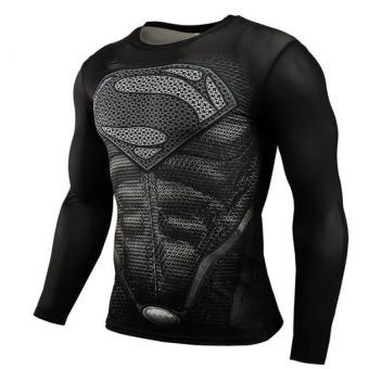 Pudding Korea Korean fashion Tight fitting black Superman T-shirt Black - intl - 2