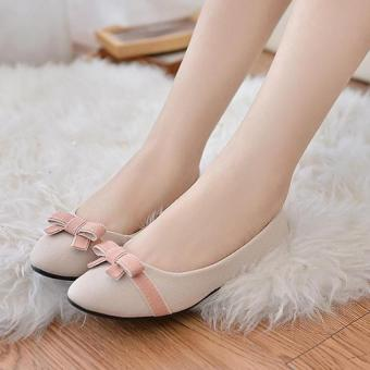 Pudding Women's flat casual shoes sweet bow Beige