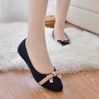 Pudding Women's flat casual shoes sweet bow Black