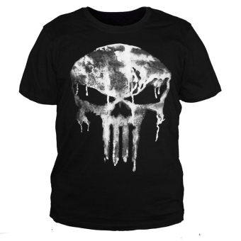 Punisher T shirt 100% Cotton Shirt Casual Short New Male( Black) -Intl - intl