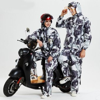 PURISS Camouflage Raincoat Split Rain Coat Pants Set Transparent Big Hat Motorcycle Uniforms Outdoor Poncho Grey - intl
