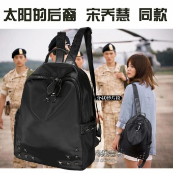 QF Korea Liu Nail Backpack (Black) And QF Korean 2 In 1 Bucket BagAnd Make Up Pouch Sling Bag - Brown
