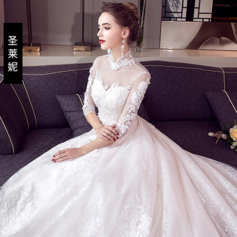 Qiudong bride wedding dress wedding veil (Qi)
