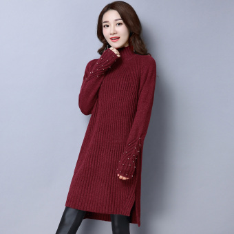 Qiudong female mid-length pullover knitted dress sweater (Wine red color)
