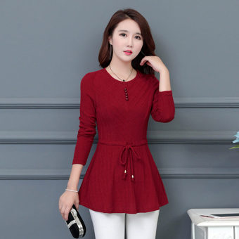 Qiudong female New style slimming lace Top chiffon shirt (Red)