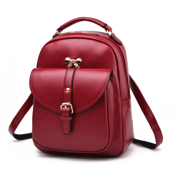 Qiudong free Japanese and Korean style women's casual backpack (Wine red color)