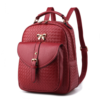 Qiudong free Japanese and Korean style women's casual backpack (Wine red color woven)