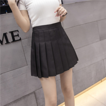Qiudong Korean-style female New style plaid a word skirt pleated skirt (Elastic models black)