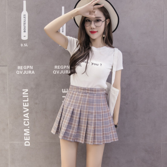 Qiudong Korean-style female New style plaid a word skirt pleated skirt (Gray plaid pleated skirt)