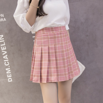 Qiudong Korean-style female New style plaid a word skirt pleated skirt (Pink plaid pleated skirt)