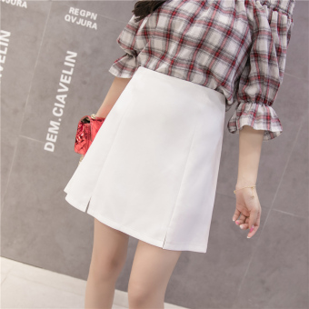 Qiudong Korean-style female New style plaid a word skirt pleated skirt (Slit section white)