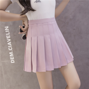 Qiudong Korean-style female New style plaid a word skirt pleated skirt (Zip pink)