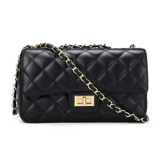Qiudong Korean-style lock Lingge chain bag New style women's bag (Gold chain large black)