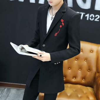 Qiudong Korean-style mid-length Slim fit suit jacket New style suit (Black)