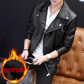 Qiudong Korean-style Plus velvet New style thick leather jacket men's leather (Black Plus velvet 9911)