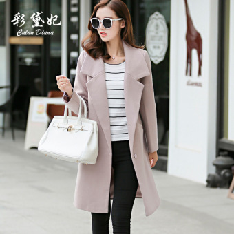 Qiudong Korean-style thick female Plus-sized woolen coat (Lotus color)