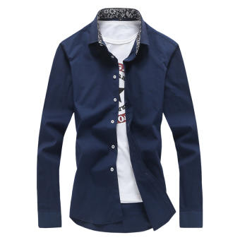 Qiudong Korean-style white men's Slim fit shirt long-sleeved shirt (Dark blue color)