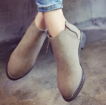 Qizhef ladies fashion comfortable breathable flat bottomedboots(Light Grey) - intl