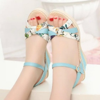 Qizhef Ms. Fashion Color Matching High Heels Wedge Sandals (Blue) -intl - 5