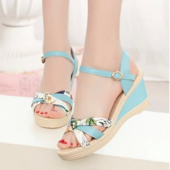 Qizhef Ms. Fashion Color Matching High Heels Wedge Sandals (Blue) -intl - 3