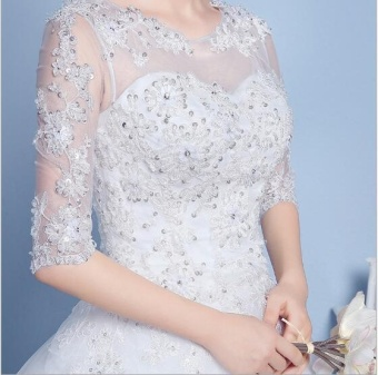 QQ Wedding dress wedding band thin slim White - intl - 4