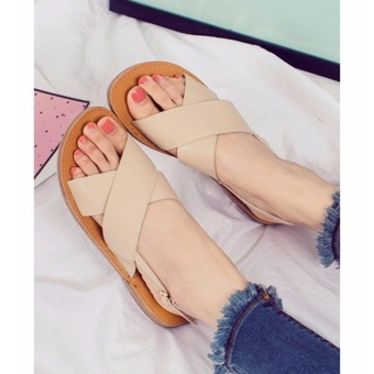 Quality Fashion Women Flat Strap Cross Sandals - Beige