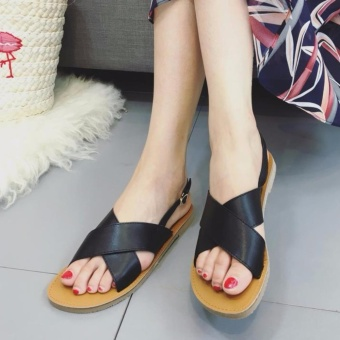 Quality Fashion Women Flat Strap Cross Sandals - Black